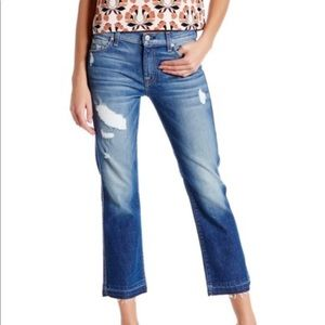 7FAM distressed cropped bootcut jeans